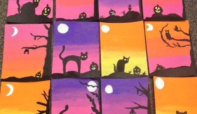 Halloween Acrylic Paintings Spooky Silhouettes Art