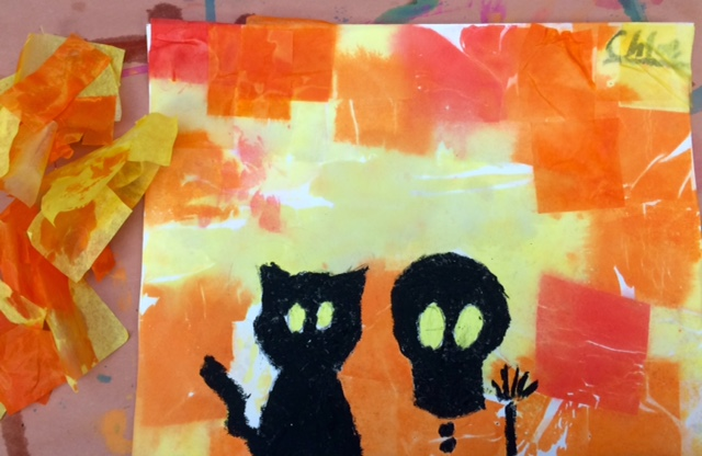Halloween Peeking Silhouettes-Tissue Paper Wax Resist