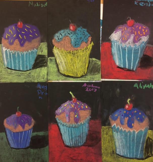 Cupcake Art Lesson : Cupcakes- Values and Shadows - Art Teacher in LA