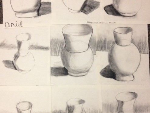 Fifth Grade Charcoal Vases
