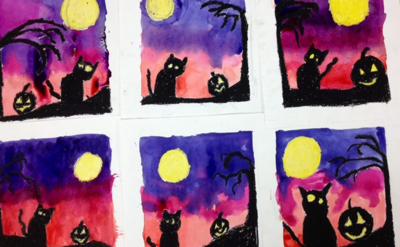 Halloween  Silhouettes Watercolor Wax Resist