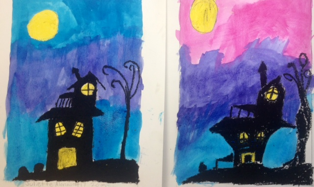 Spooky Houses- oil pastel & watercolor