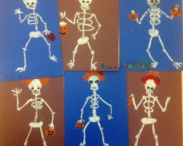 Oil Pastel Skeletons