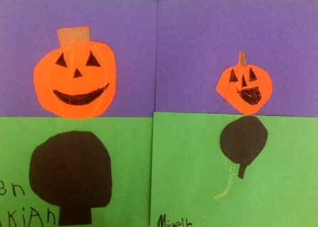 Kindergarten Jack-o-lanterns with shadows