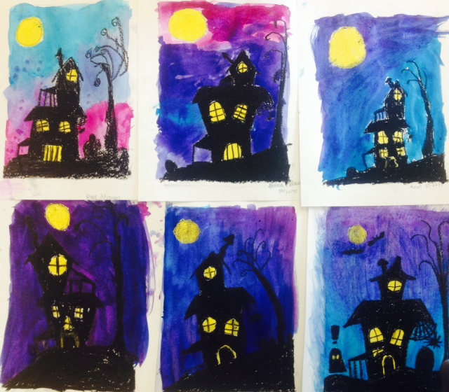 Halloween art archives art teacher in la Haunted house drawing ideas