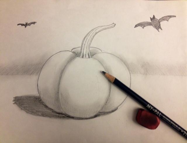 pumpkin drawing with shading. materials: my pal pencil, pink eraser, drawing paper pumpkin with shading p