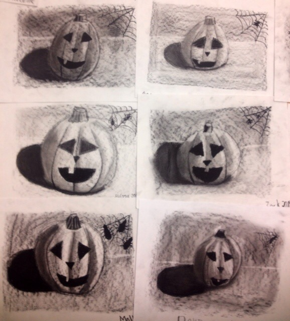 halloween charcoal drawing lesson jack o lanterns