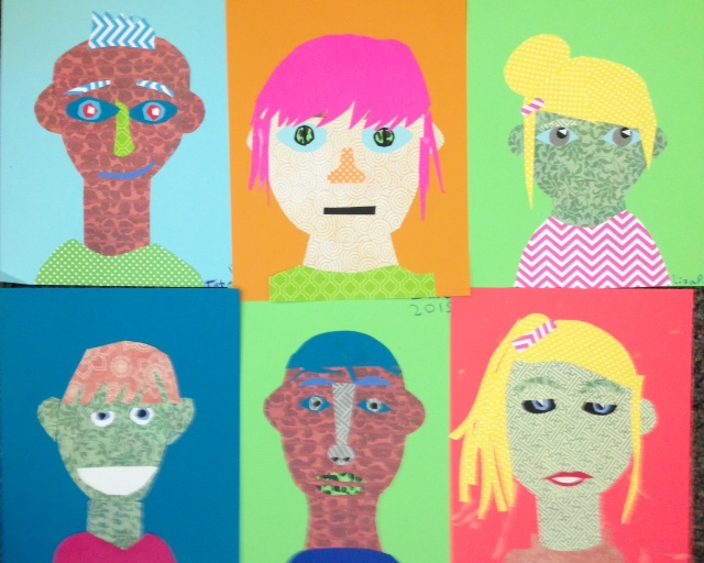 5th 6th grade funky collage self portraits