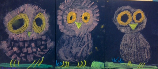 Kindergarten Chalk Owls