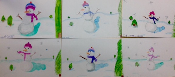 4th Grade Winter Watercolor Snowman Landscapes