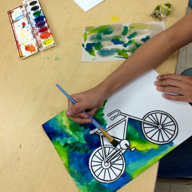 STEAM Art Project-Middle School Bicycle Paintings - Art Teacher in LA