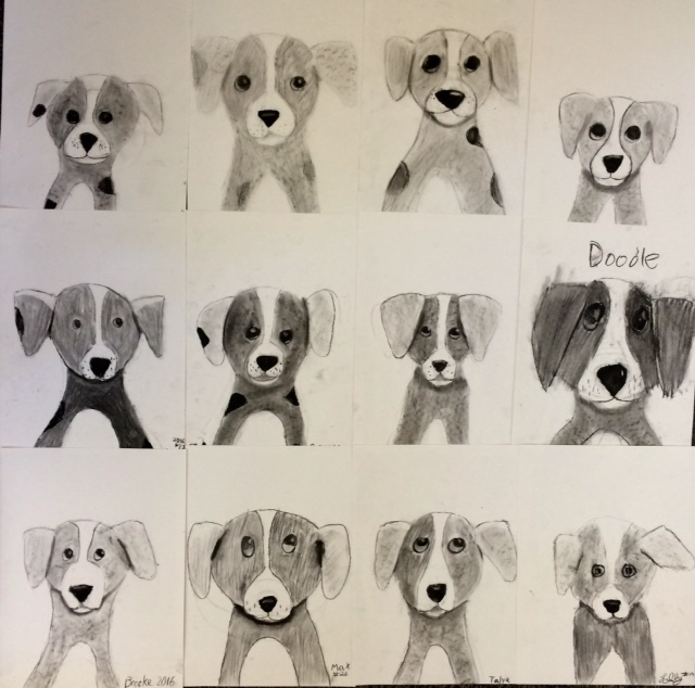 charcoal drawing 5th grade puppies