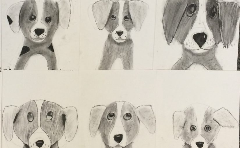 Charcoal Drawing- 5th Grade Puppies