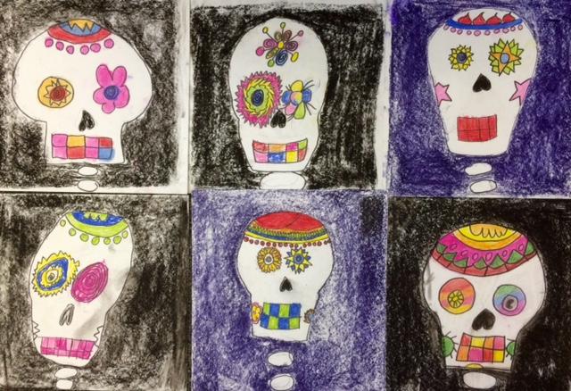 Halloween Art- Pastel Skulls