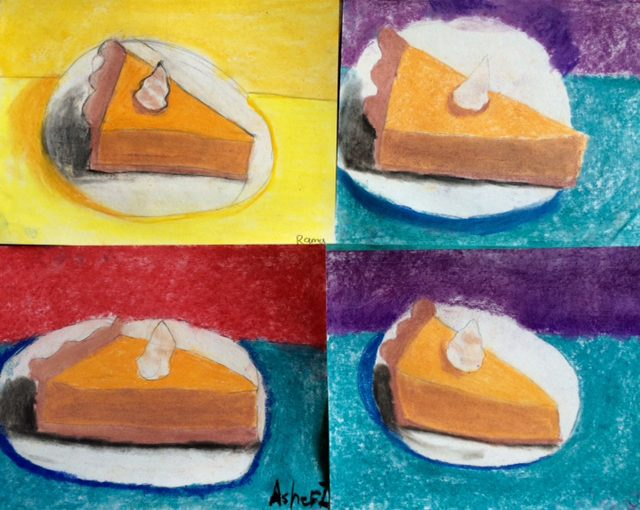 Pumpkin Pie in Chalk-FALL ART PROJECT