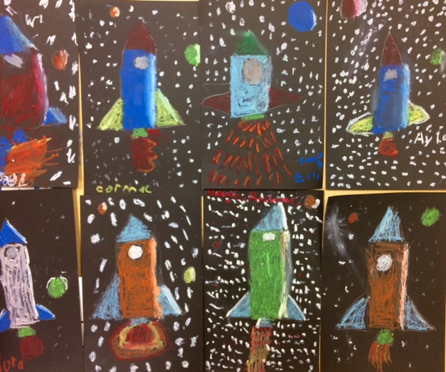 Simple Classroom Door Decor ~ Oil pastel space rockets
