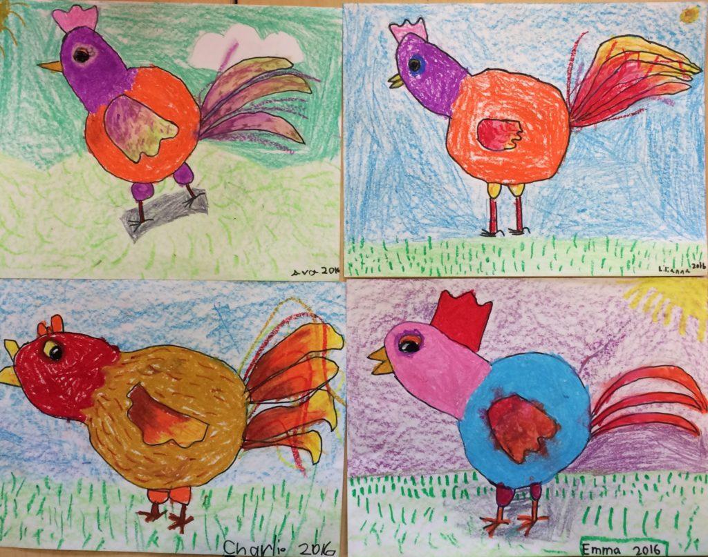 Simple Shape Roosters 1st grade art lesson - Art Teacher in LA